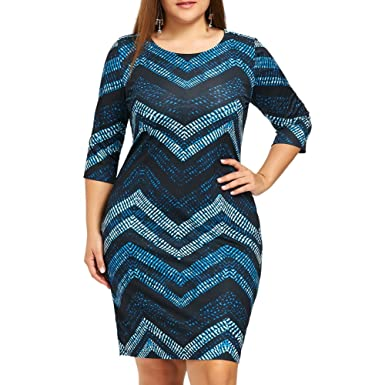 afc03ee75b2d88 iShine Übergröße Etuikleid Damen 3 4 Arm Kleid Business Kleid Midikleid  Bodycon Kleid Festlich Abendkleid Partykleid Cocktailkleid Knielang   Amazon.de  ...