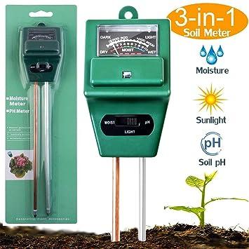 AIBIDUO Kit de comprobador de suelo con sensor de humedad 3 en 1 con PH,