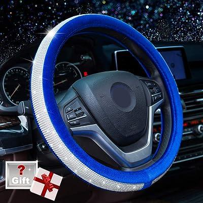 Alusbell Crystal Diamond Steering Wheel Cover Soft Velvet Feel Bling Steering Wheel Cover for Women Universal 15 inch Plush Wheel Cover for Escape Fusion Focus Accord Prius Rav4 Sapphire Blue: Automotive