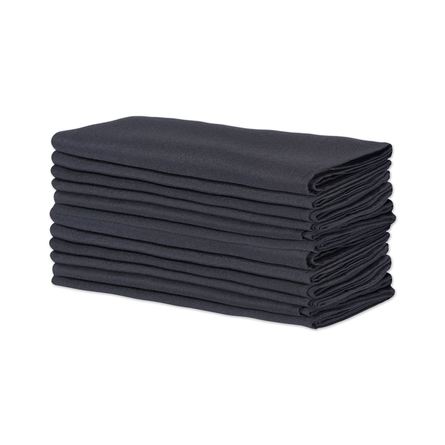 E-Living Store Polyester Commercial Quality Heavy Duty Cloth Napkins (18x18-inch) for Restaurant or Home Table, Bulk Set of 12, Black