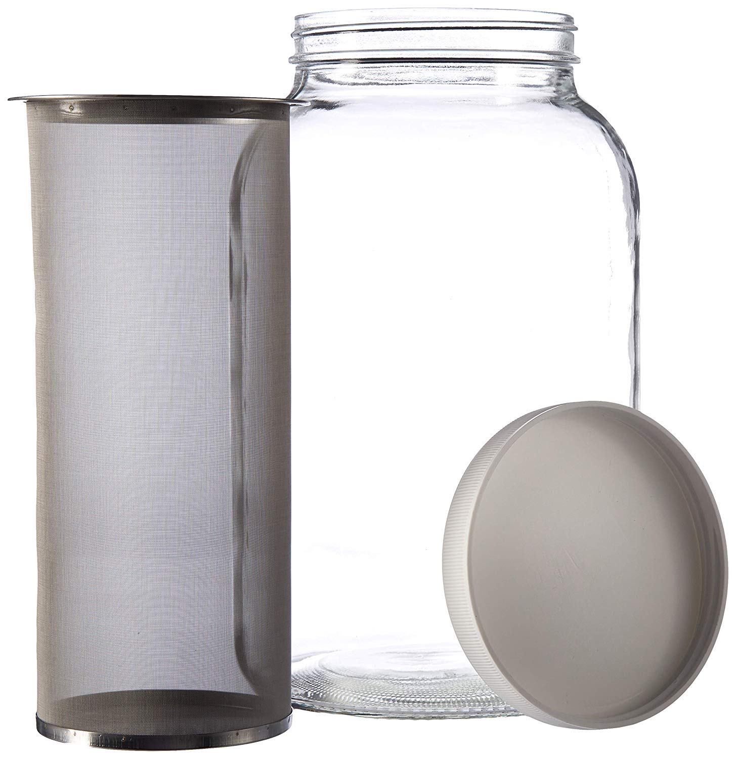 1 Gallon Cold Brew Coffee Maker - Gallon Mason Jar with Stainless Steel Mesh Filter Insert and Lid for Large Batch Cold Brew Coffee and Tea Batches - by kitchentoolz by kitchentoolz