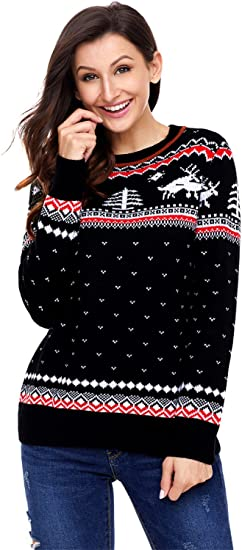 Xmas Shirt for Womens Merry Christmas Turtleneck Pocket Snowflake Moose Print Wool Sweater Knit Pullover Sweatshirt Top