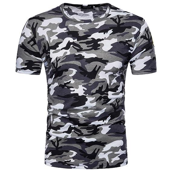 Camiseta Para Hombre, ❤️Xinantime Blusa de Camuflaje Casual Para Hombre Imprimir O Cuello Pullover