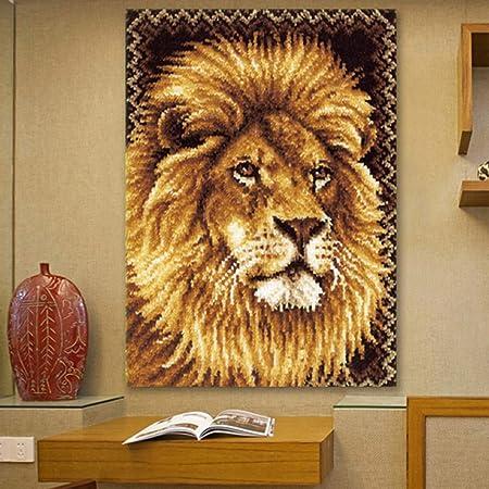 Baoblaze Latch Hook Kit DIY Rug Tapestry Carpet Handcraft Cushion Embroidery Set Crocheting for Kids /& Adults Animal Pattern Lion, 75 x 54cm