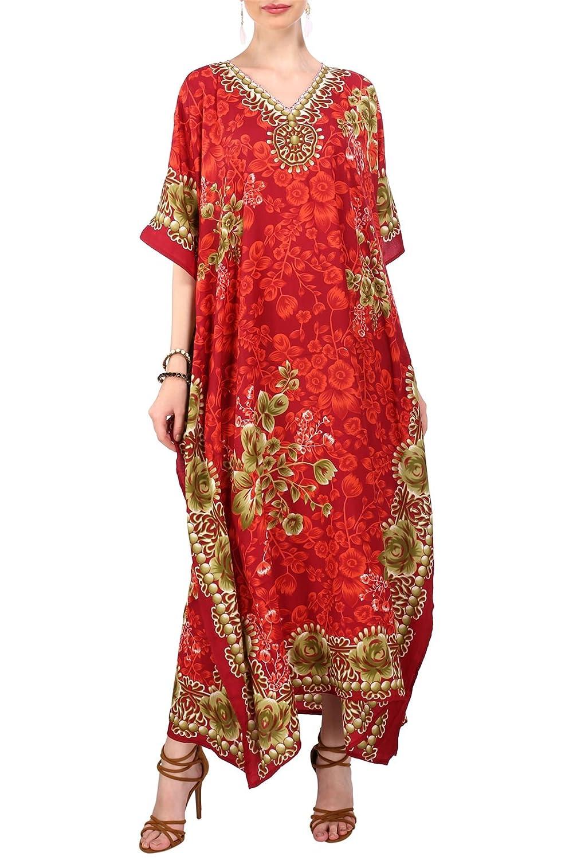 Miss Lavish London donne Kaftan tunica kimono libero formato lungo maxi partito vestito per loungewear vacanze pigiama spiaggia di tutti i giorni coprire i vestiti Rosso EU 52-56