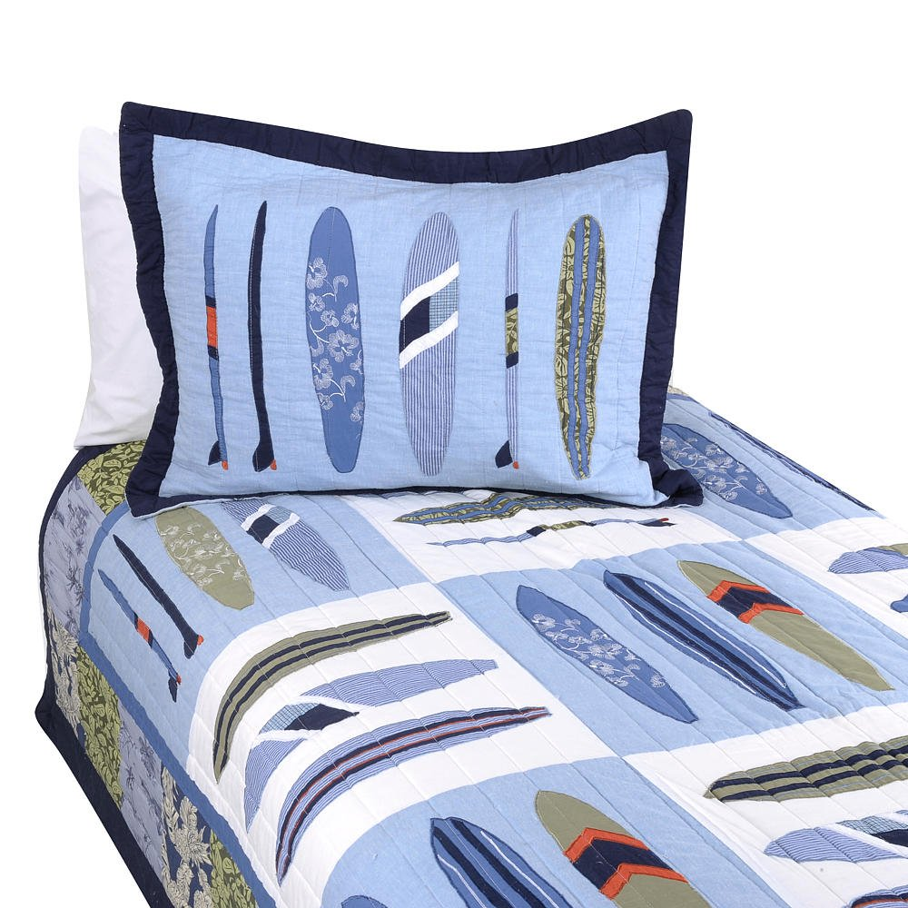 Pem America Catch a Wave Full / Queen Quilt with 2 Shams- Blue