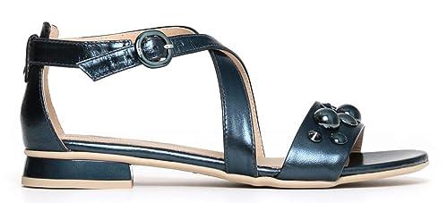 Sandali NeroGiardini P805812D 201 5812 scarpe donna in pelle laminato blu