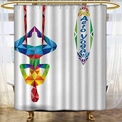 Amazon.com: Yoga Shower Curtains Waterproof Aerial Aero Anti ...