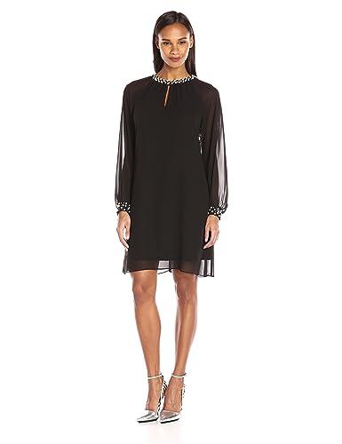 S.L. Fashions Women's Long Sleeve Chiffon Dress wth Pearl Neck and Cuff