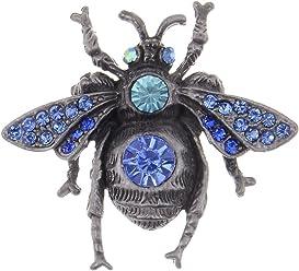 220564c60d2 Alilang Dark Metal Tone Sapphire Aqua Blue Crystal Rhinestone Bee Fly  Insect Pin Brooch