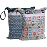 Sleeping Lamb Baby Travel Wet Dry Cloth Diaper Organizer Bag (Owls and Stripe)