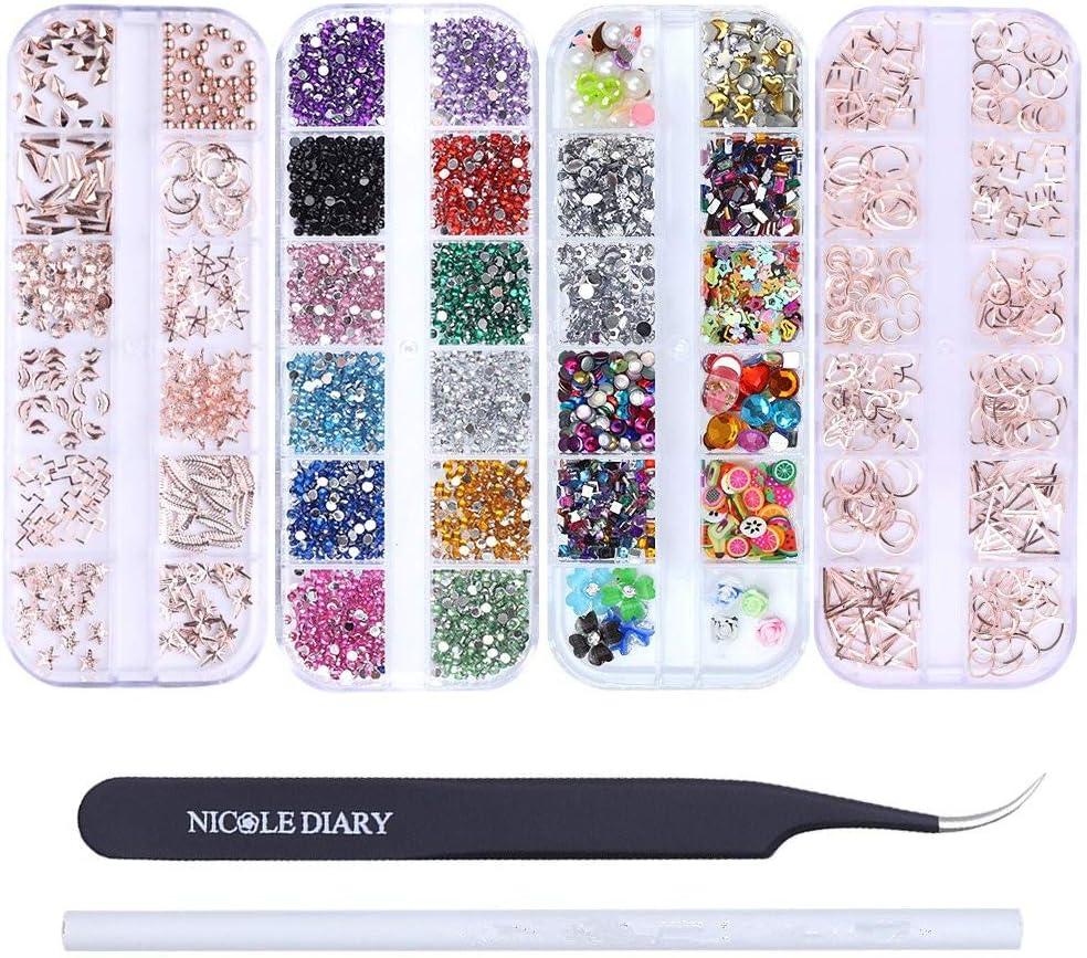 NICOLE DIARY Kit de decoración de uñas con pinzas curvadas para pestañas y lápices de cera, para uñas, diseño 3D con piedras de imitación iridiscentes