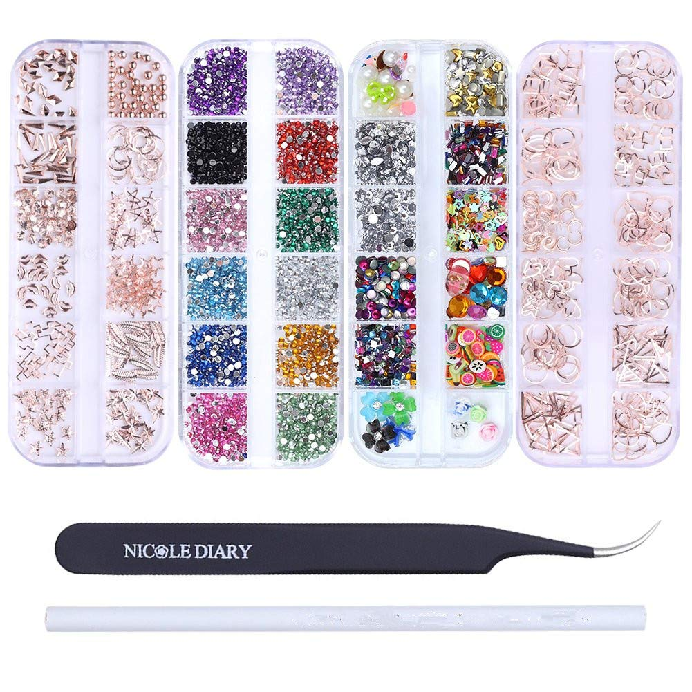 NICOLE DIARY Rose Gold Nail Studs Colorful Rhinestones 3D Nail Gems Fruit Slices Fimo Nail Art Tips Decoration Kit with Curved Tweezers Eyelash Nippers Wax Pencil Picker Tool for Nail Art Supplies by NICOLE DIARY