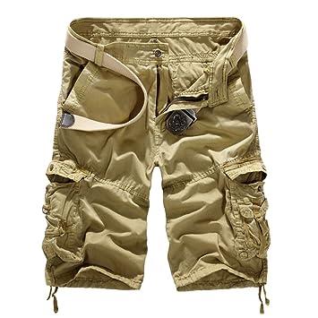 GITVIENAR Suelto Cortos Pantalones Pantalón Algodón Deporte Shorts Ocio Cargo Hombre Bermuda Cortos con Multi-Bolsillo Verano Outdoor Corto Gran Tamaño: Amazon.es: Deportes y aire libre