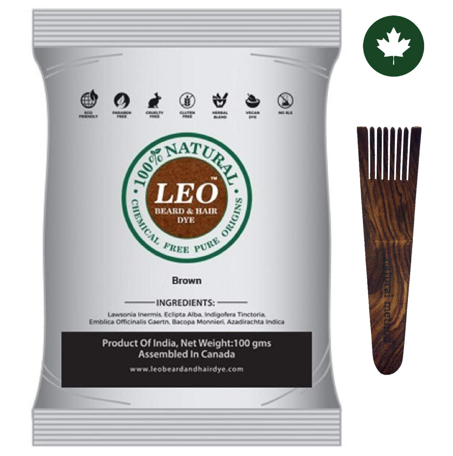 LEO BEARD & HAIR DYE- 100% Natural & Chemical Free Color (BROWN) 3.52 Oz & FREE Wood Applicator LMEI
