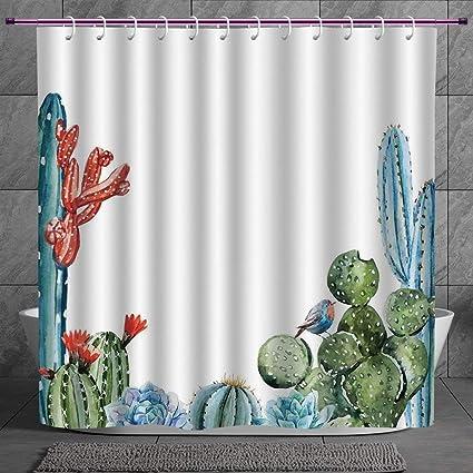 Cool Shower Curtain 20 Cactus DecorCactus Spikes Flowers With Birds Cartoon Vintage Like
