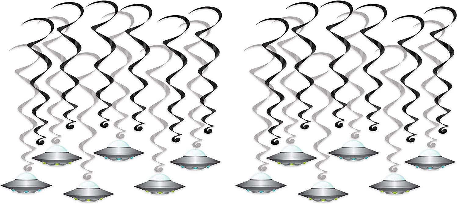 Beistle Flying Saucer Whirls 24 Piece Outer Space Decorations Alien Party Supplies Hanging Spirals, 15