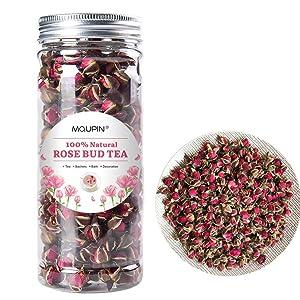 MQUPIN Organic Rose Bud Tea Dried Red Rose Petal Flower Edible Buds Detox Tea (Golden Rosebud(100g))