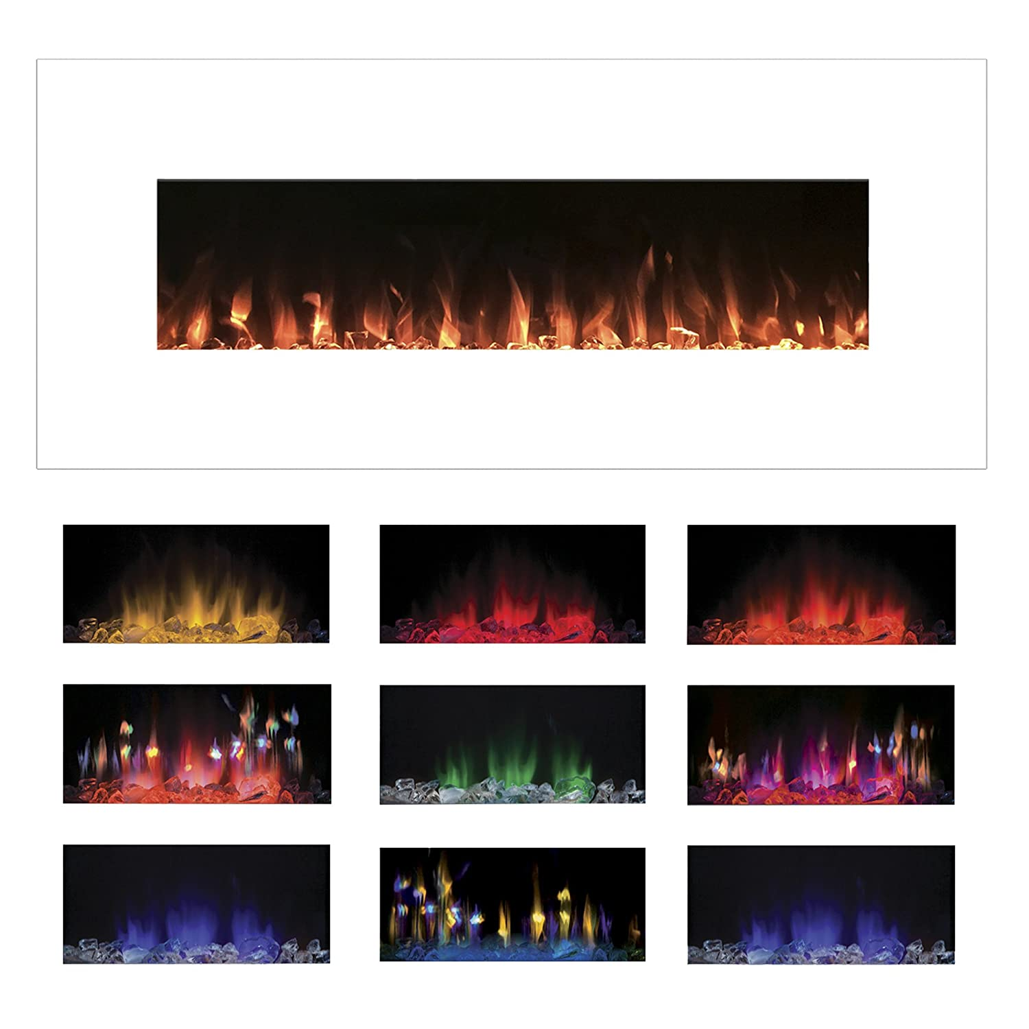 Superb Electric Fireplace Wall Mounted Color Changing Led Flame And Remote 50 Inch By Northwest White Download Free Architecture Designs Intelgarnamadebymaigaardcom