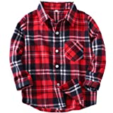 Toddlers Baby Boys Girls Clothes Gentleman Outfit Red Plaid Flannel Formal Shirt with Button Down Kids Outfit 1-6T