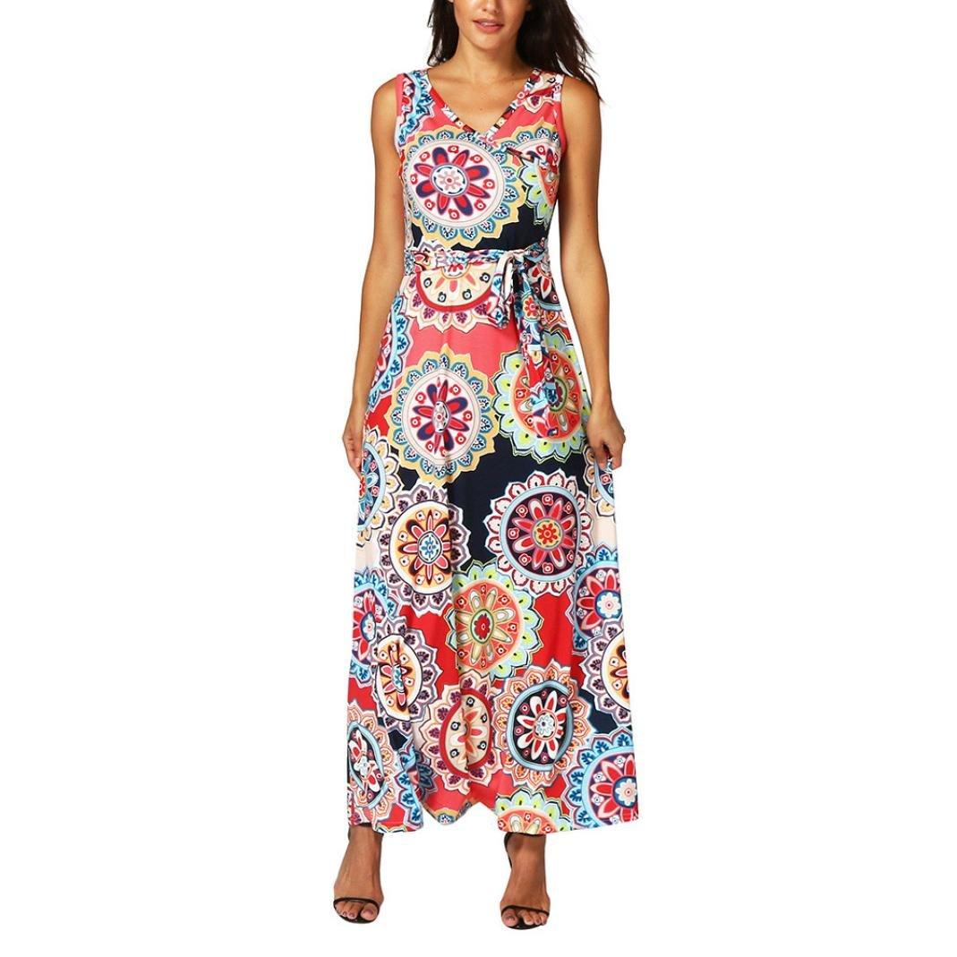 Sunward 2018 Womens Casual Sleeveless Boho Floral Print Beach Party Long Maxi Dress CFF60812403