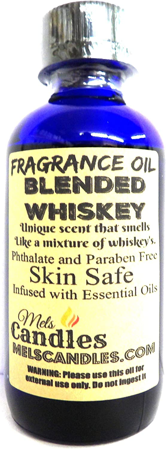 Blended Whiskey 4oz / 118.29ml Blue Glass Bottle of Premium Grade A Fragrance Oil/Essential Oil, Skin Safe Oil, Use in Candles, Soap, Lotions, Etc