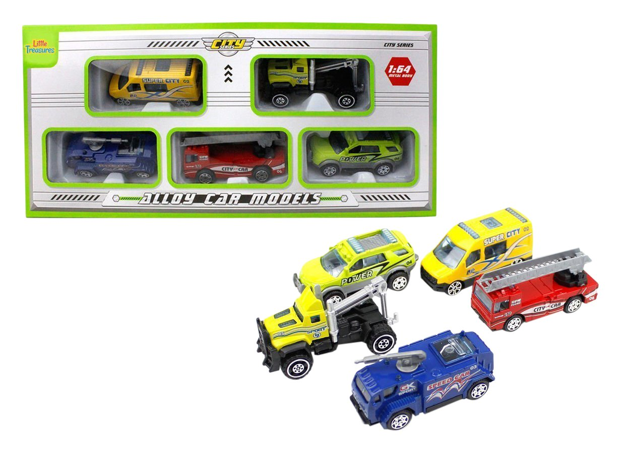 Little Treasures Toy of Five Model Cars Vibrant Animated Colors Build to Collect Likes of Vehicle
