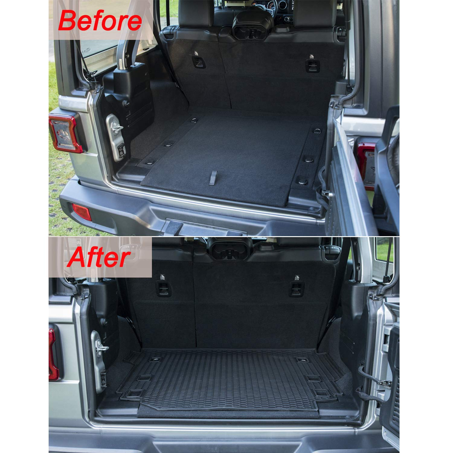 bonbo Rear Trunk Floor Mat for Jeep Wrangler JL 4 Doors 2018 2019,Custom Fit,Cargo Liner with Odorless and Heavy Duty Rubber,All Weather Guard