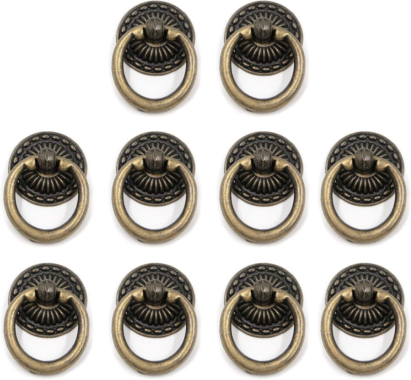 MTMTOOL Antique Bronze Knobs Pulls Handles Hardware Furniture Drawer Pull Ring Dresser Cabinet Ring Pulls with Screws Pack of 10