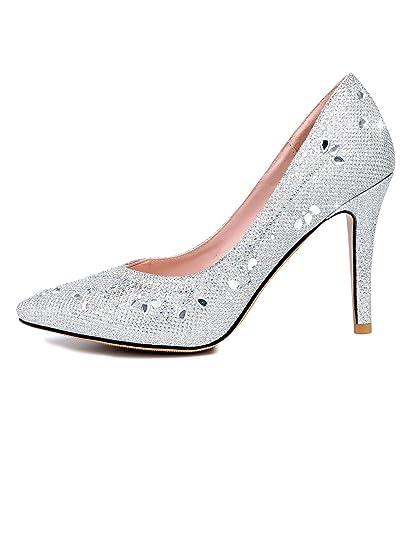 3e56fb71a4d9 cooshional Damen Klassische Pumps Silber Strass Glitzer Party Hochzeit  Stilettos Abendschuhe High Heels