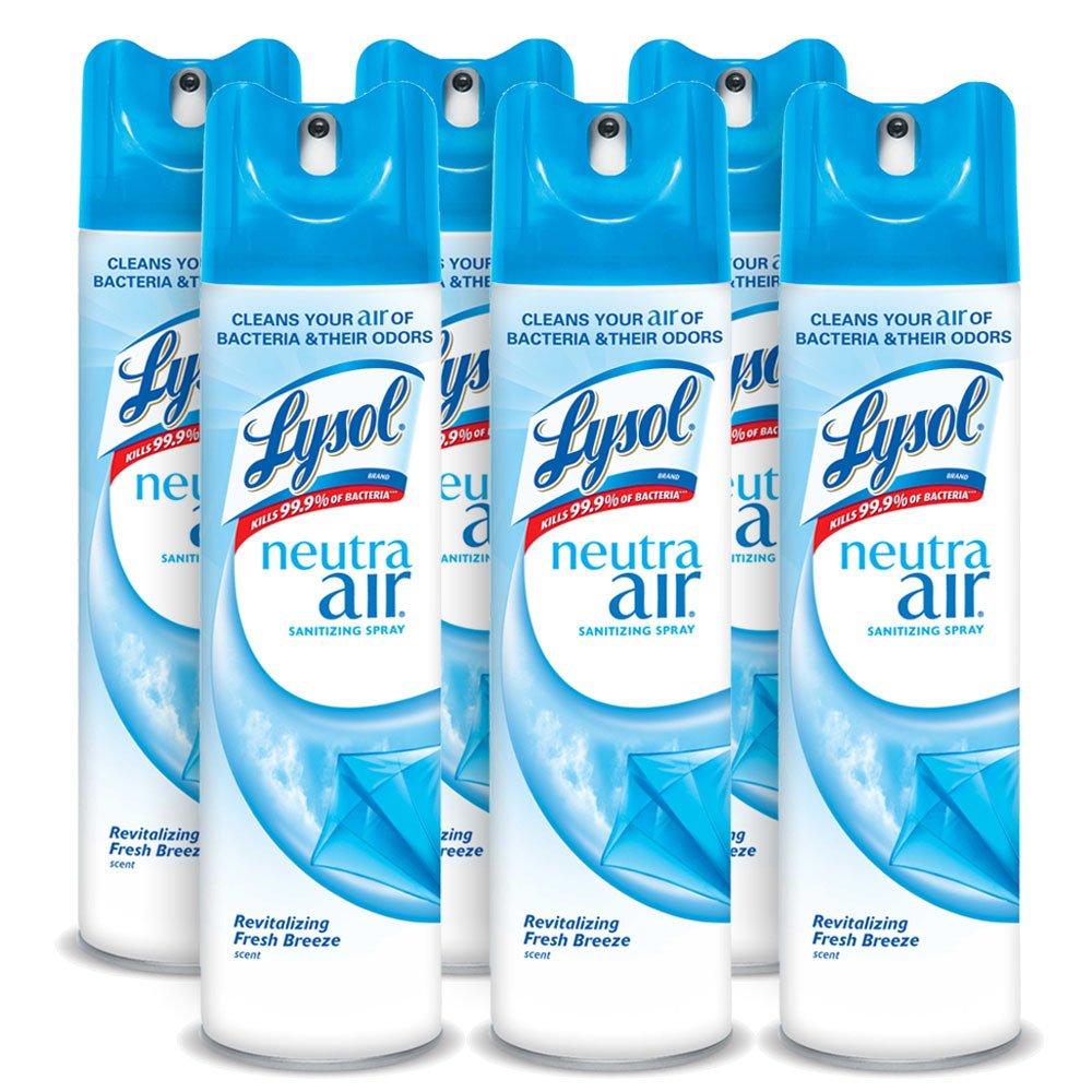 Lysol Neutra Air Sanitizing Spray, Fresh Breeze, 60oz (6X10oz), Air Freshener, Odor Neutralizer