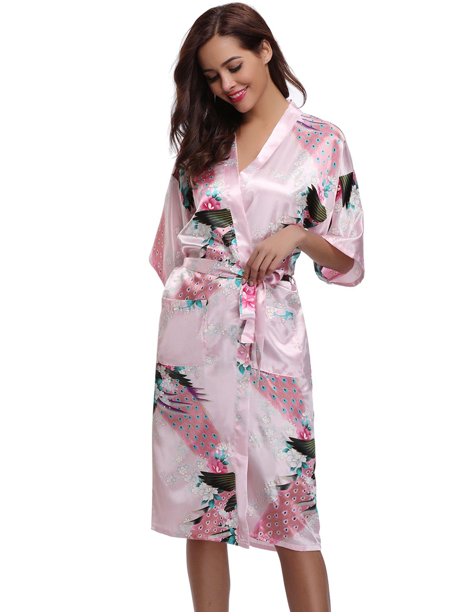Aibrou Kimono Mujer Batas Largas Lenceria Pavo & Flores product image
