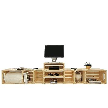 Meuble Tv 2S4L3H - Kit Prêt À Assembler - Caisses En Bois (X9