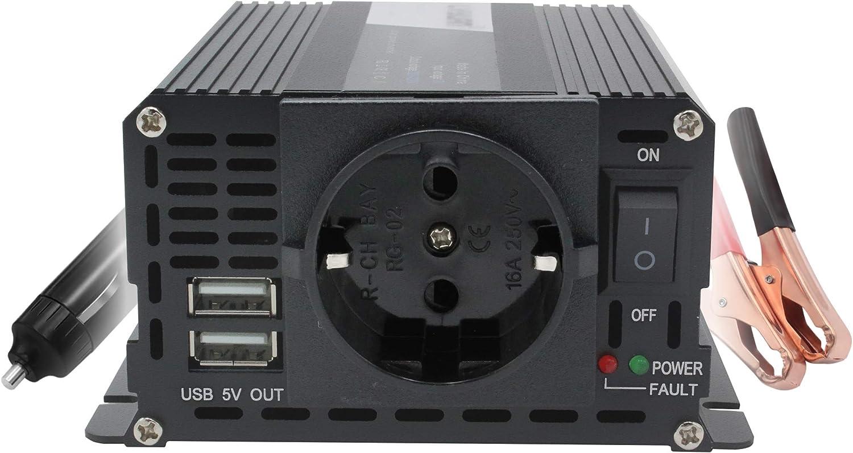 Yinleader Inversor 400W 12V a 220V, 2 puertos USB, encendedor de cigarrillos y modo de entrada dual con clip de batería