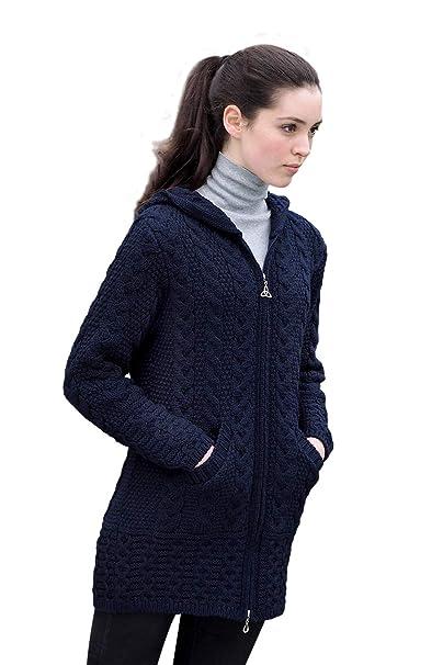 66066b4c95 Irish Merino Wool Ladies Hooded Aran Zip Sweater Coat at Amazon Women s  Clothing store