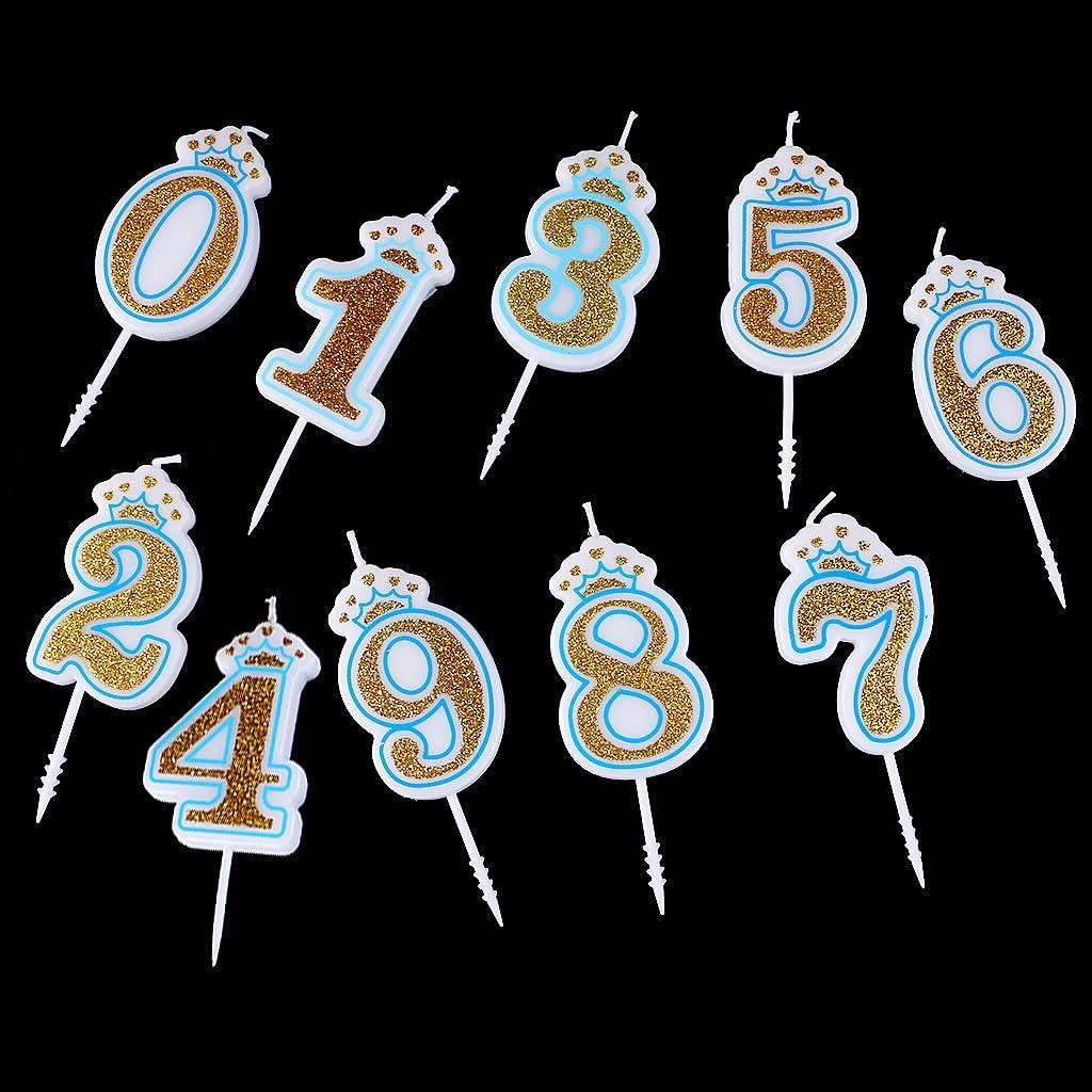 Corona de purpurina para tartas de cumplea/ños con n/úmeros 0 a 9 Chiic Vela ideal como accesorio de cumplea/ños PK 4