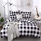 Farmhouse Buffalo Checked Bedding Set Black Gray White Plaid Comforter Cover Twin,Soft Lightweight Grid Bedspreads, 1 Lattice