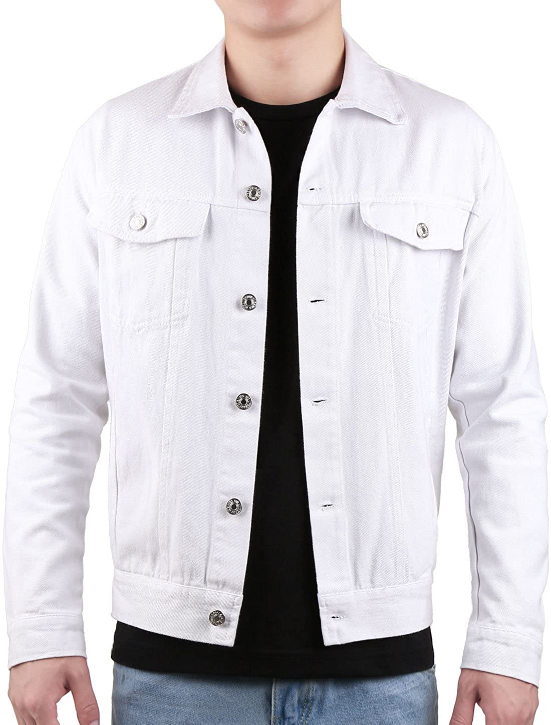 uxcell Men Classic Button Front Chest Pocket Long Sleeves Casual Jacket g17091300ux0015