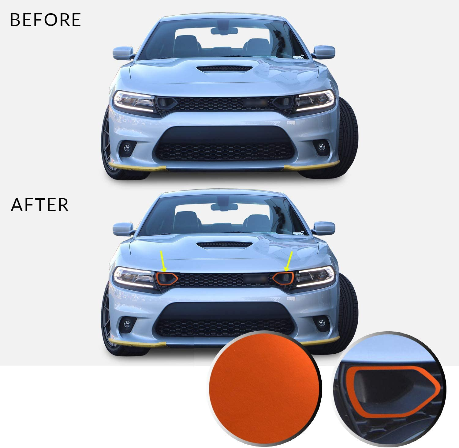 Front Upper Grille Bezel Vinyl Decal Overlay Trim Wrap Inserts Sticker Compatible with /& Fits Charger Scat Pack 2019 2020 Metallic Matte Chrome Orange