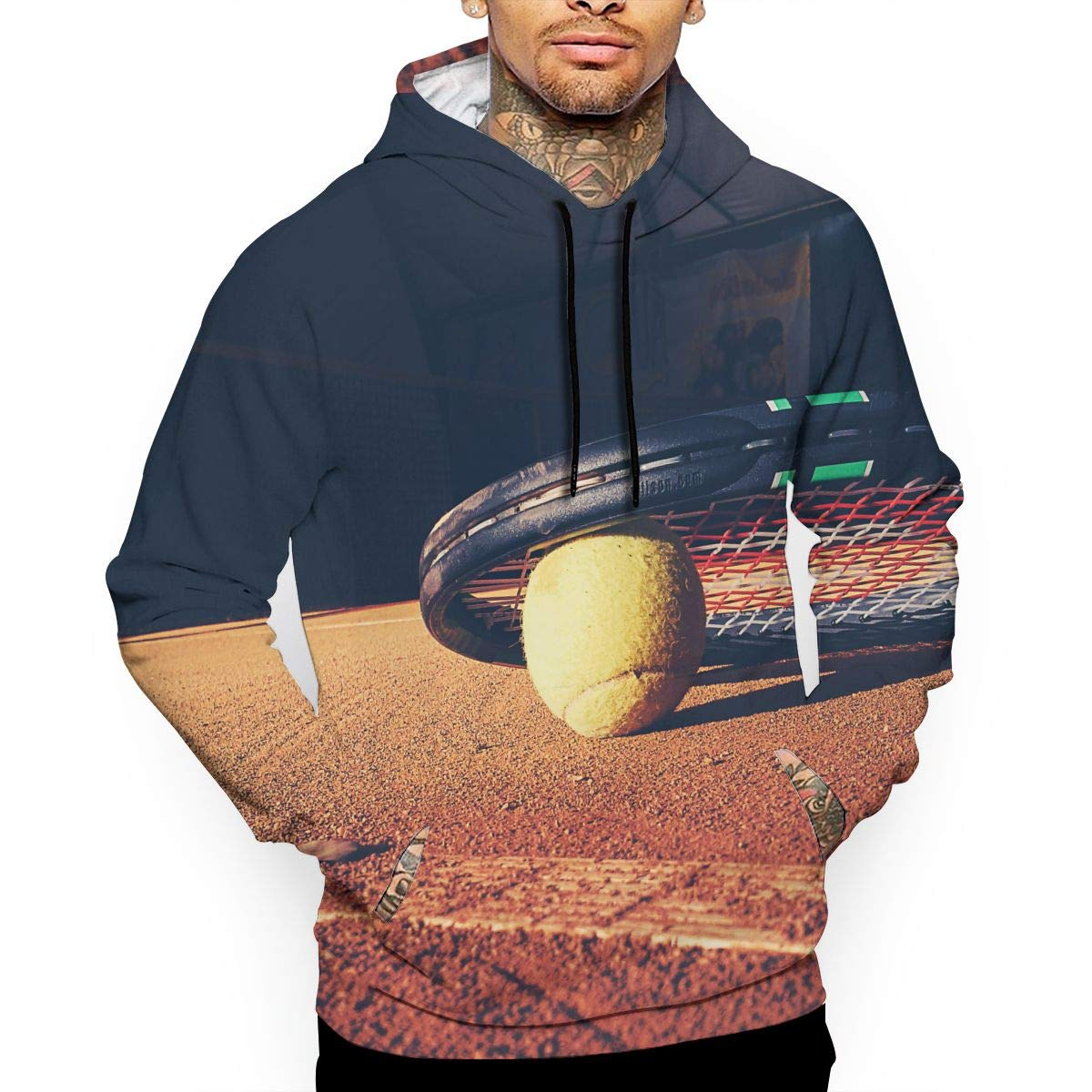 Pullover Hoodie Tennis Racket Court Fleece Hoodies Kangaroo Pocket Sweatshirt Hooded for Men