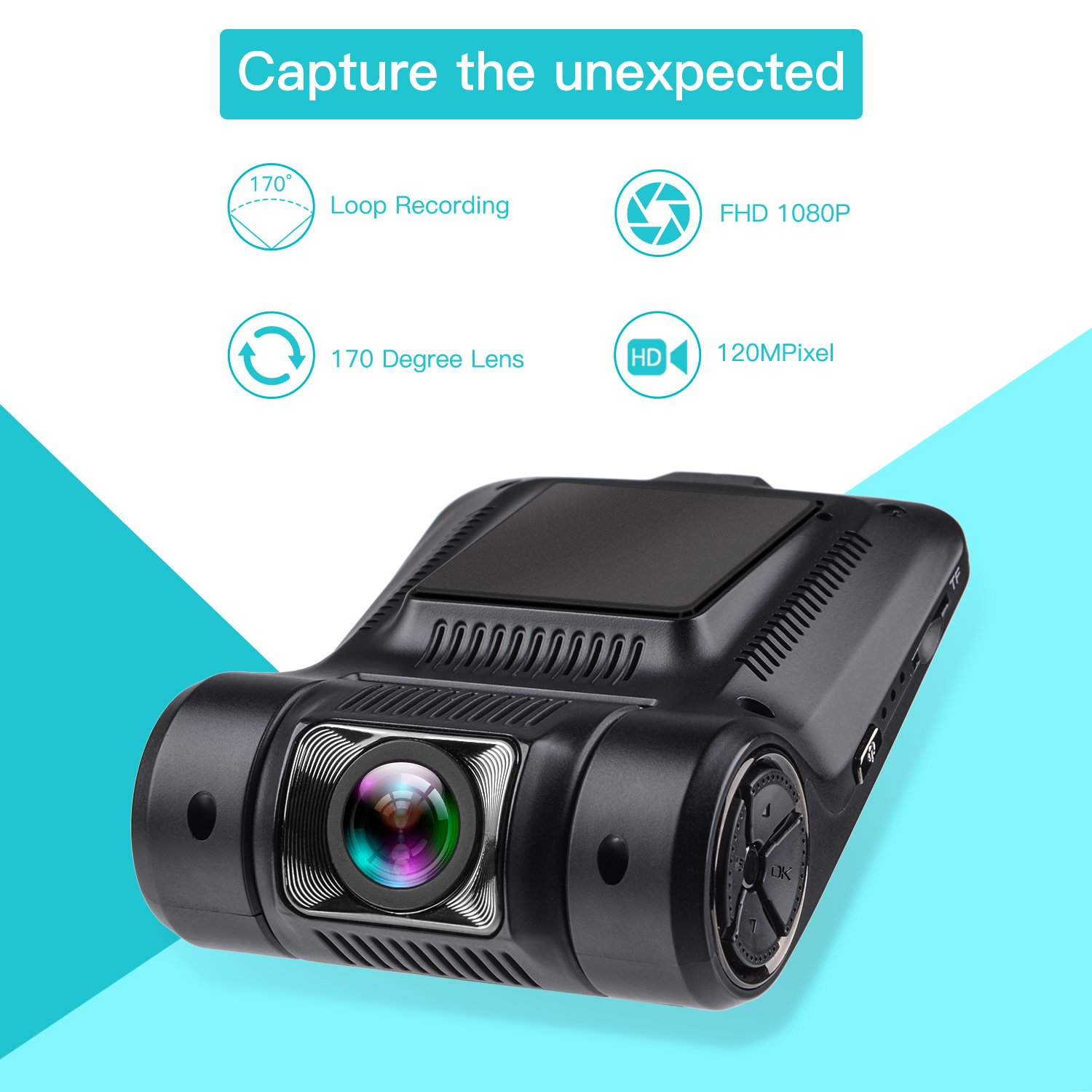 aucee roader dash cam wifi 1080p full hd 170 wide angle. Black Bedroom Furniture Sets. Home Design Ideas