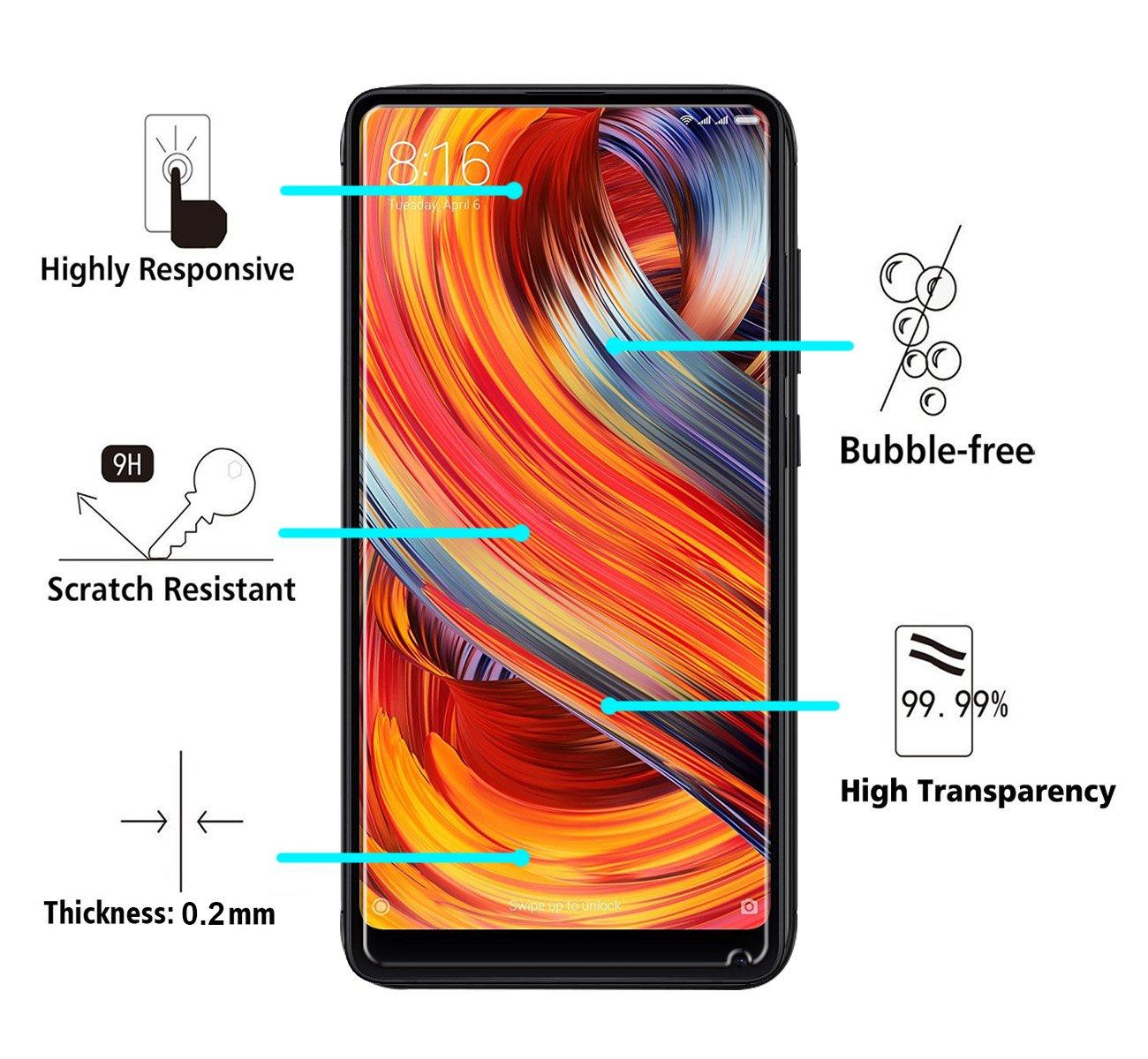 iVoler [2 Unidades] Protector de Pantalla para Xiaomi Mi Mix 2 / Xiaomi Mi Mix 2s, Cristal Vidrio Templado Premium: Amazon.es: Electrónica