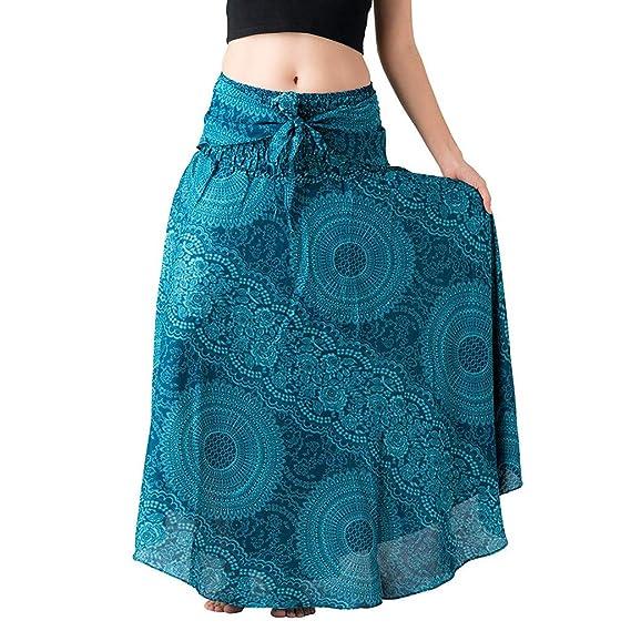 Falda Bohemio Vintage Estampado Una Línea De Mujer Falda Larga ...