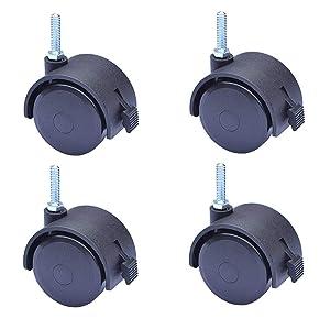 "AAGUT 2"" Swivel Stem Casters Wheel with Locking Brake, 1/4"" - 20 x 1"", 4 Pack OeCaster50_625EN"