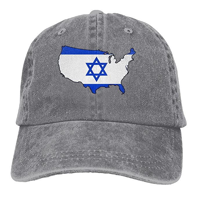 f0e52338dd8 Israel Flag American Map Unisex Baseball Cap Cotton Denim Adjustable  Outdoor Sports Cap for Men Or