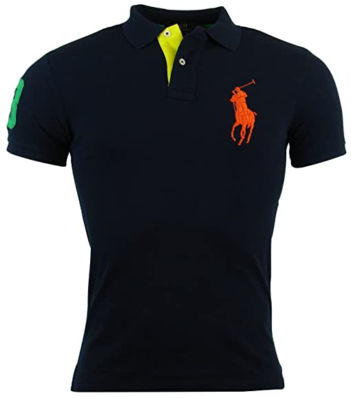 Polo Ralph Lauren Mens Custom Fit Big Pony Mesh Polo Shirt - XL - Navy