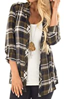 Amborido Women's Soft Plaid Button Down Long Sleeve Shirt Top 3/4 Length Roll up Sleeves