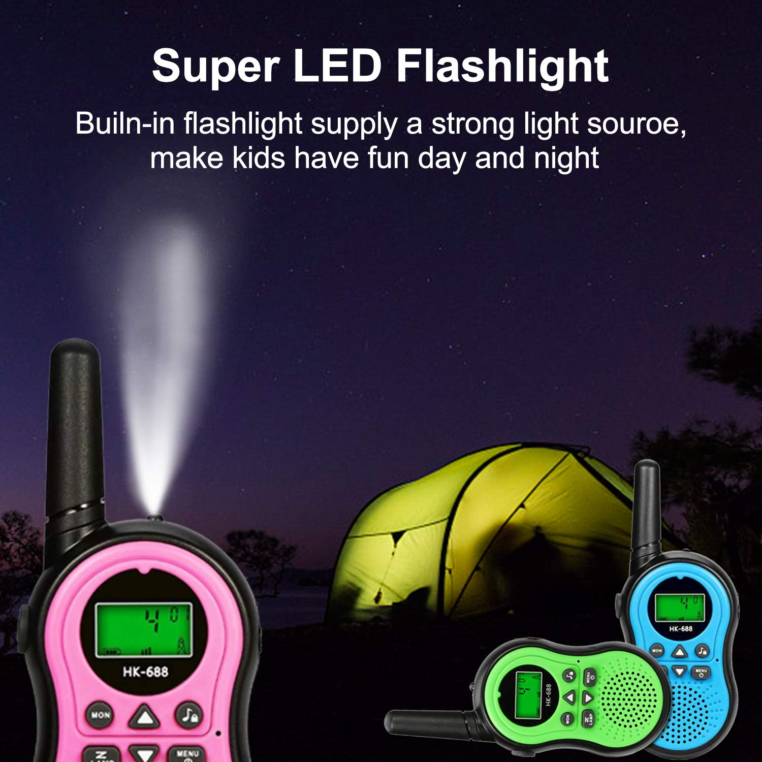 6 Pack Kids Walkie Talkies Outdoor Indoor Toys for Boy Girl 22 Channels Two Way Range Up to 3 Miles Flashlight FRS Radio Handheld Walkie Talkie Adventure Camping Game Back to School Birthday Best Gift by Camlinbo (Image #5)
