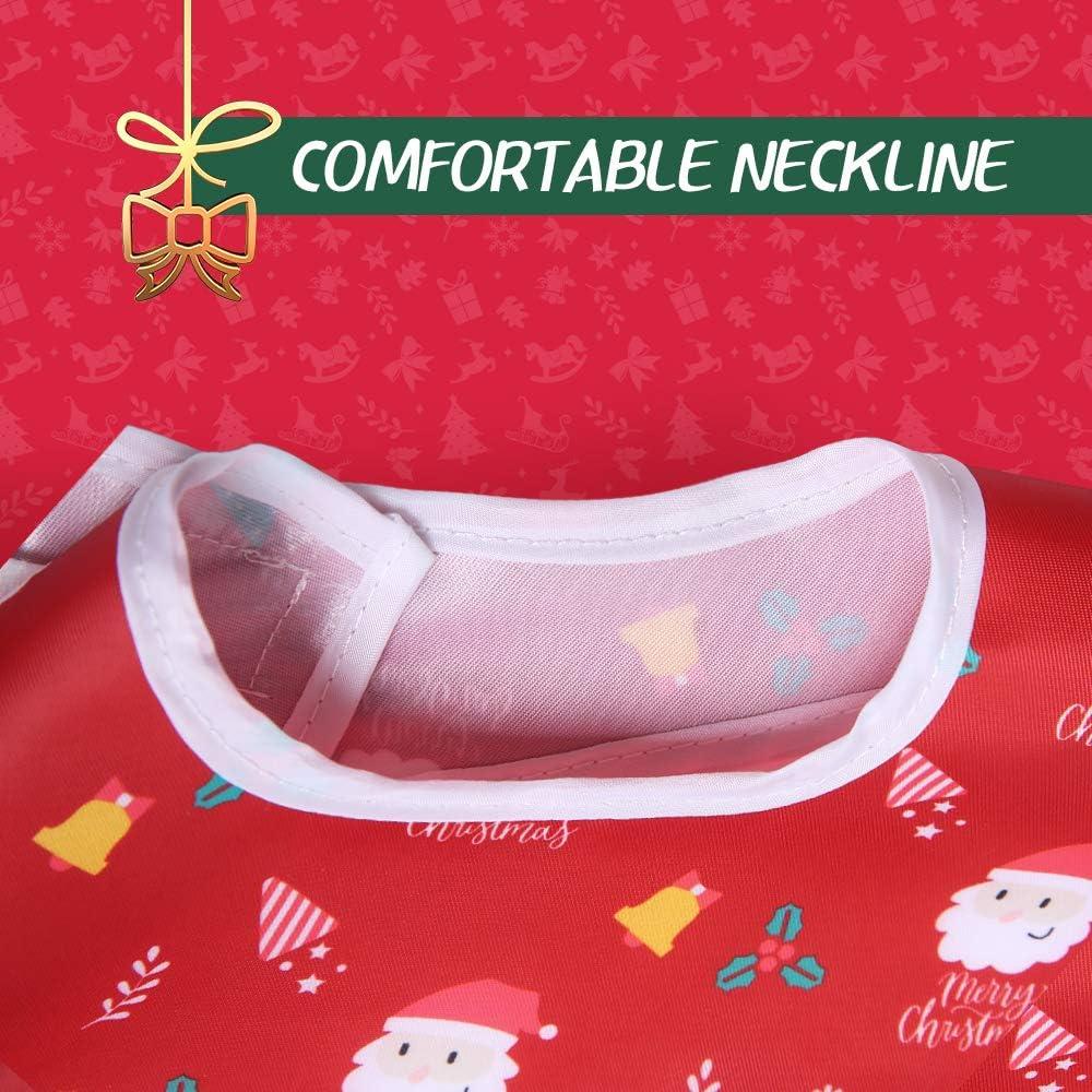 Christmas Bib Babero Impremeable con mangas para beb/é Resistente al agua Ni/ños Alimentaci/ón Babero de Delantal de Manga Impermeable Con Mangas Babero