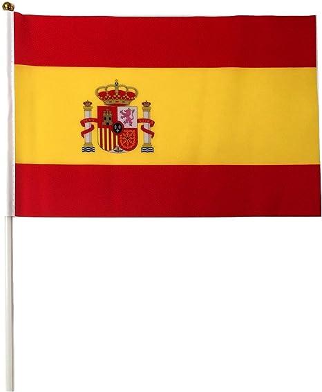 inShang bandera banderas de mano, para Inglaterra España Francia Alemania Italia Irlanda Dinamarca Finlandia Grecia países bajos Noruega Polonia Rusia Suecia (10pcs/paquete/un país sólo), España: Amazon.es: Deportes y aire libre